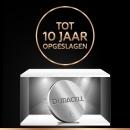 Met de Duralock-technologie kunt u uw ongebruikte Duracell-batterijen maar liefst 10 jaar lang in de verpakking bewaren.