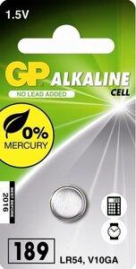 GP LR54 Alkaline knoopcel (189/V10GA/L1130), blister 1