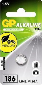 GP LR43 Alkaline knoopcel (186/V12GA/L1142), blister 1