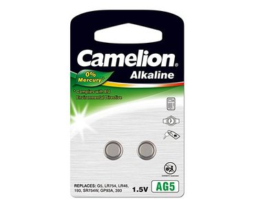 Camelion AG5 alkaline knoopcel (LR48/SR754W/GP93A), blister 2