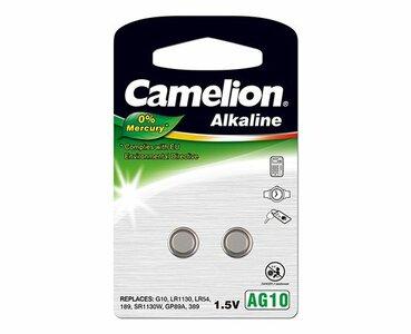 Camelion AG10 alkaline knoopcel (LR54/SR1130W/GP89A), blister 2